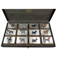 Udall & Ballou Silver Enamel Sporting Dog Motif Match Holder Set