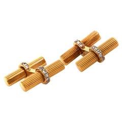 VCA Van Cleef & Arpels Yellow Gold Diamond Men Cufflinks