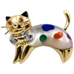 Charming Asch Grossbart Multistone Gold Leaping Cat Pin