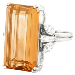 Spectacular Retro 1950s 25 Carat Topaz and Diamond Ring