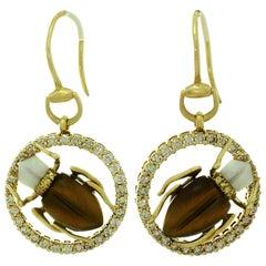 Gucci Diamond Sapphire Agate Tiger Eye Yellow Gold Scarab Beetle Earrings