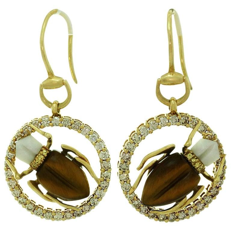 a9e36b409b0 Gucci Diamond Sapphire Agate Tiger Eye Yellow Gold Scarab Beetle Earrings  For Sale