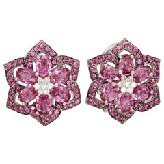 White Diamond Pink Sapphire Flower Earrings