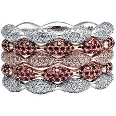 Towe Norlen Cupido 4.56 Carat Contemporary Diamond and Ruby Stackable Rings
