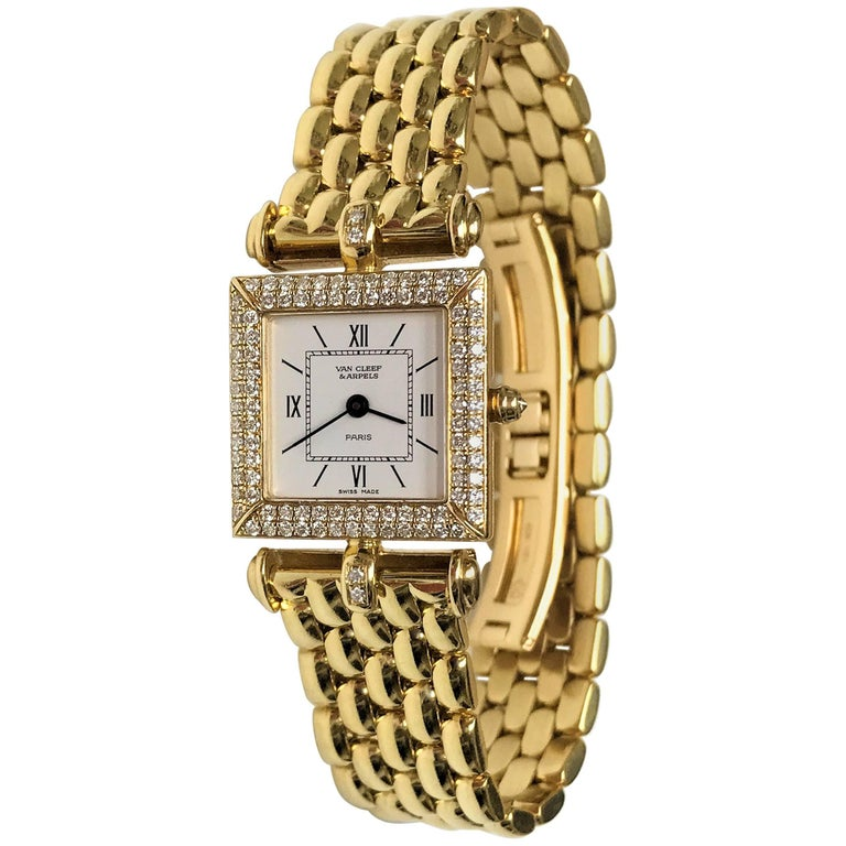 Van Cleef & Arpels Ladies Yellow Gold Diamond Classique Quartz Wristwatch For Sale