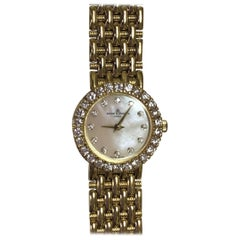 Baume Mercier Yellow Gold Mother-of-Pearl Diamond Dial and Bezel Wristwatch