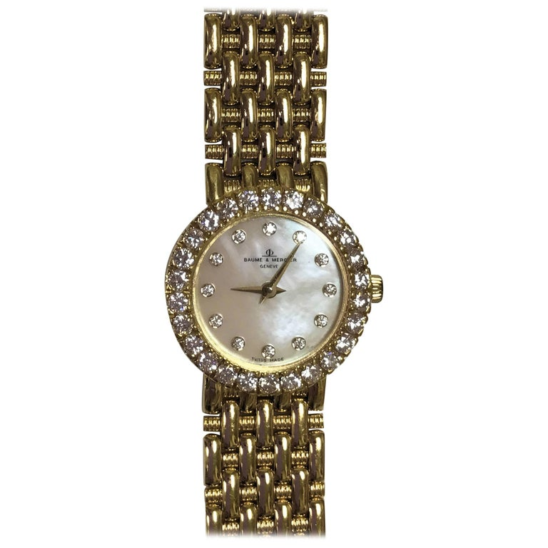 Baume Mercier Yellow Gold Mother-of-Pearl Diamond Dial and Bezel Wristwatch For Sale