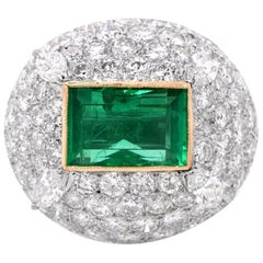 1960s Very Fine Colombian Emerald Diamond Dome Ring