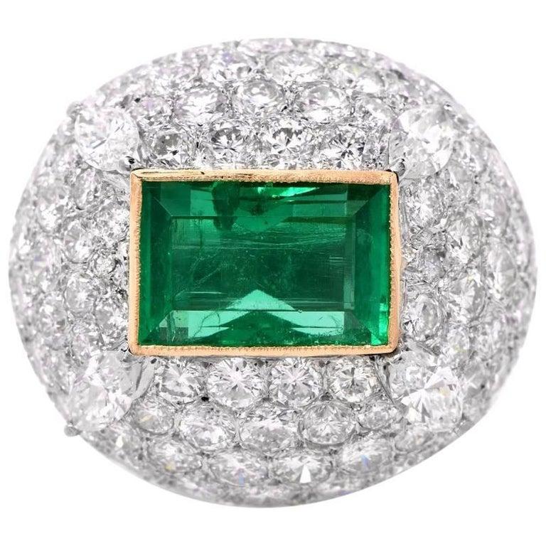 1960s Very Fine Colombian Emerald Diamond Dome Ring