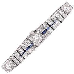 1930s Antique Deco Diamond Sapphire Platinum Link Bracelet