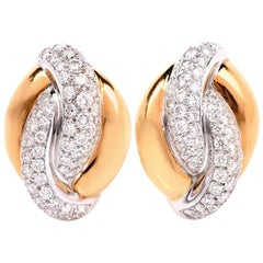 20th Century Twisted Diamond Hoop Clip-Back Gold Earrings