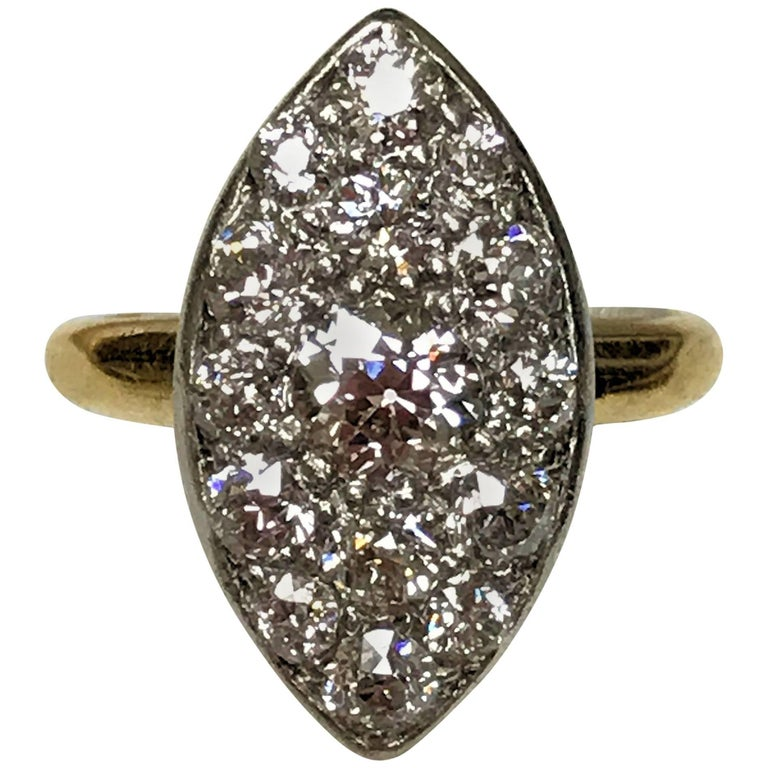 Antique Edwardian Tiffany Diamond Platinum Gold Ring 1