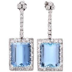1960s Santa Maria Aquamarine Diamond Platinum Pendant Earrings