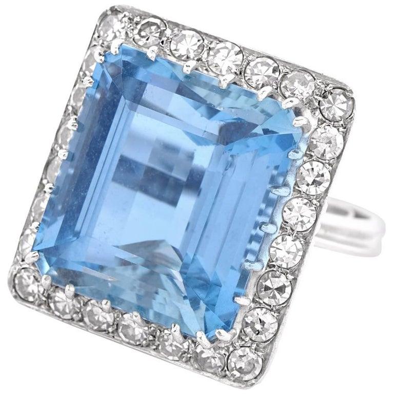 1960s santa maria aquamarine diamond platinum cocktail for Santa maria jewelry company