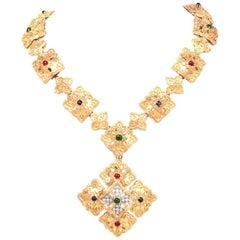 1970s Vintage Diamond Multi Gemstone Gold Pendant Necklace and Bracelet