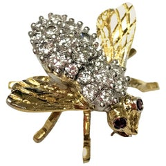 Herbert Rosenthal 18 Karat Diamond and Ruby Bee Pin
