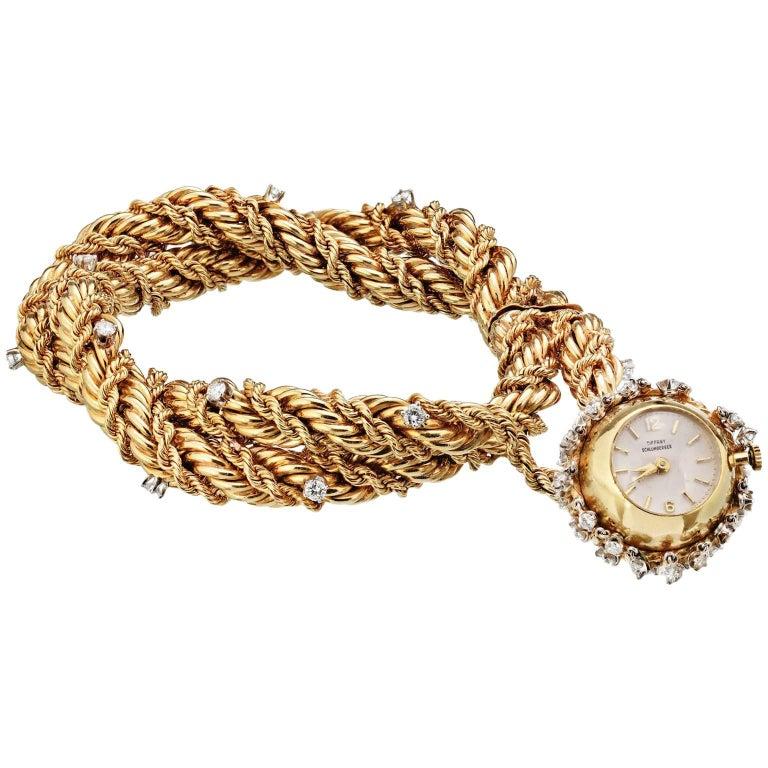 Tiffany & Co. Schlumberger Double Strand Diamond Charm Watch Bracelet