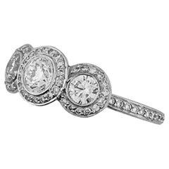 Ritani Diamond Three-Stone Micro Pave Platinum Engagement Ring