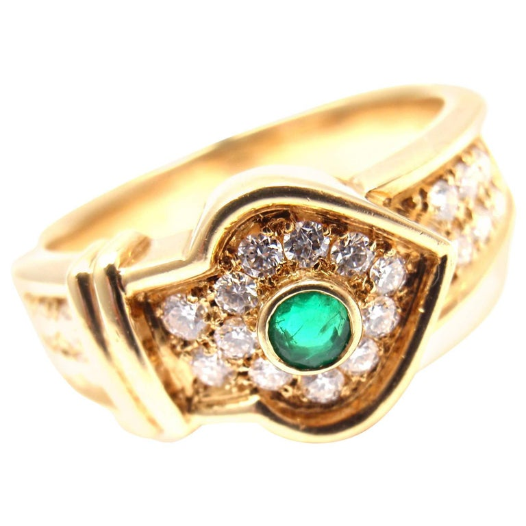 Christian Dior Diamond Emerald Yellow Gold Ring