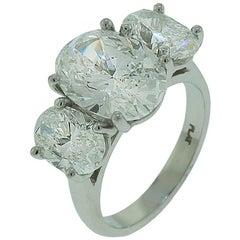 GIA Certified Three-Stone Oval Diamond Platinum Ring