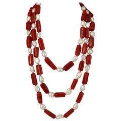 Decadent Jewels Red Sea Bamboo Coral Pearl Three Strand Silver Necklace