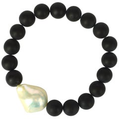 Decadent Jewels Matt Onyx Large Baroque Pearl Bracelet