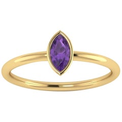 Ferrucci Purple Ametyst Marquise 18 Karat Yellow Gold Low Setting Style Ring