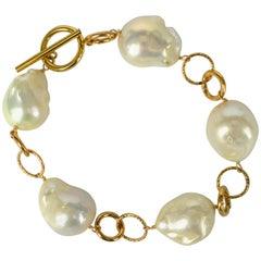 Decadent Jewels Baroque Pearl Link Gold Bracelet