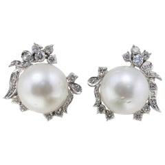 Luise Australian Pearl and Diamond Stud Earrings