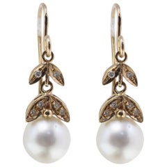 0.17 ct Diamonds and 3.30 g Australian Pearls Rose Gold Level-back Earrings