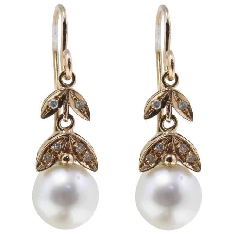 0 17 Ct Diamonds And 3 30 G Australian Pearls Rose Gold Level Back Earrings For