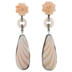 Coral and Diamond Gold Drop Earrings