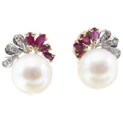 Sea Pearls Earrings with Diamonds and Rubies