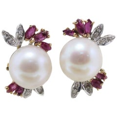 Sea Pearls Gold  Earrings with Diamonds and Rubies