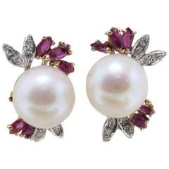 Sea Pearls Earrings with Diamonds and Rubies