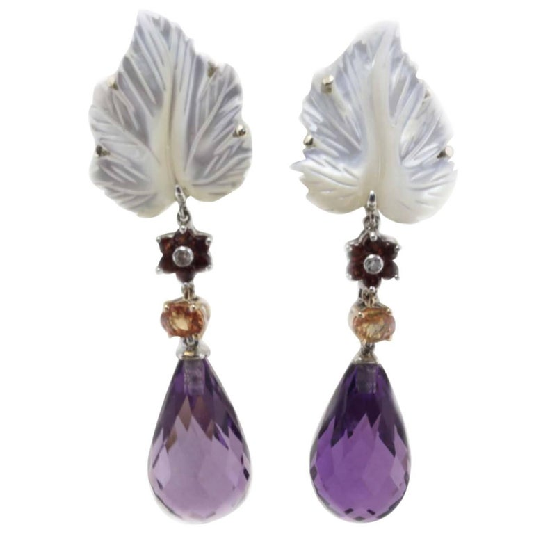 Mother-of-Pearl Amethyst and Sapphire Gold  Drop Earrings