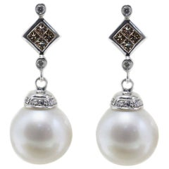 5.20 g Australian White Pearls,1.48 ct Brown Fancy Diamonds White Gold Earrings