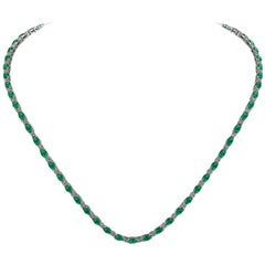 Emerald Diamond Tennis Necklace by Juliette Wooten Yellow Gold