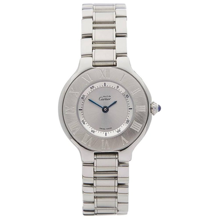 Cartier Ladies Stainless Steel Must De Cartier 21 Quartz Wristwatch, circa 2006 For Sale