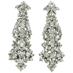 6.70 Carat Diamond Gold Drop Earrings