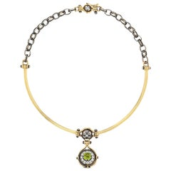 Elie Top Collier Sirius Jonc, Or, Peridot, Diamants