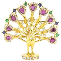 Yellow Gold Multi-Gemstone Peacock Brooch