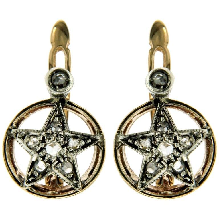 Antique Diamond Gold Star Earrings