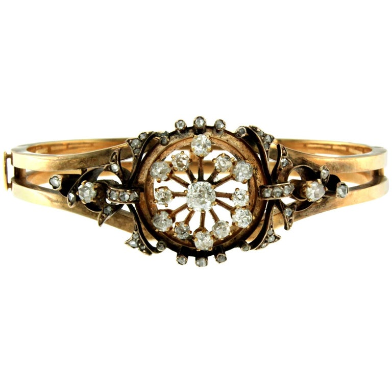 Victorian Gold Diamond Bangle Bracelet
