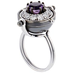 Elie Top Bague Sirius Or, Amethyste, Diamants