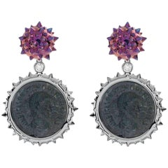 1884 Collection Ancient Roman Coin White Gold Diamond and Titanium Drop Earrings