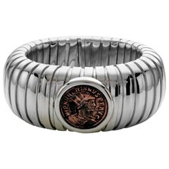 1884 Collection Ancient Roman Coin Sterling Silver Tubogas Cuff Bracelet
