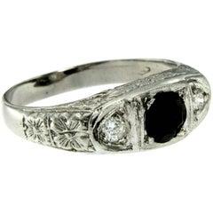 Art Deco Three-Stone Diamond Sapphire Gold Ring