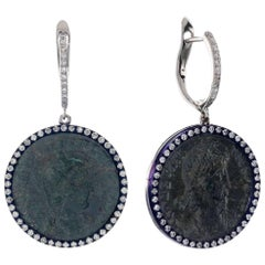 1884 Collection Ancient Roman Coin Gold Diamond and Blue Titanium Drop Earrings