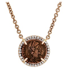 1884 Collection Ancient Roman Coin Rose Gold and Diamond Pendant Chain Necklace